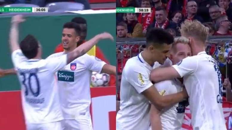 Heidenheim come out fighting against Bayern Munich. Screenshots/Movistar