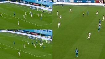 A Malcom le anularon un gol. Captura/Matchtv
