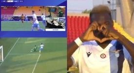 El VAR, Caicedo y el portero del Lecce cambiaron el 1-0 por el 0-1. Capturas/Movista