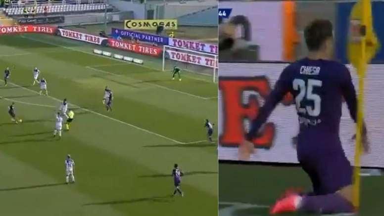 Por goles como este quieren a Chiesa en media Europa. Captura/MovistarLigadeCampeones