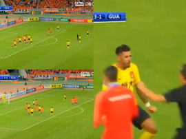 Paulinho envió el partido a los penaltis con un golazo de falta. Captura/CCTV5