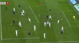 El golazo de Brandt: giro y balón a la escuadra. Captura/Movistar