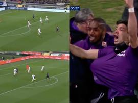 La Fiorentina marcó a los 17 segundos. Captura/Movistar