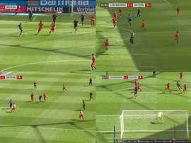 Il goal di Goretzka contro il Leverkusen. LigadeCampeones