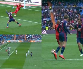 Cardona a ouvert la marque au Bernabéu. Capture/BeINSports
