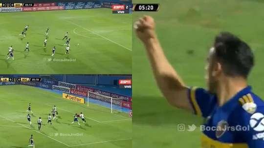 Entre rebote y rebote, Salvio apareció para hacer el primer gol de Boca. Captura/ESPN
