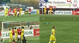 Pavel Nekhajchik marcou gol olímpico na vitória do BATE Borisov contra o Minsk. Capturas/BET365