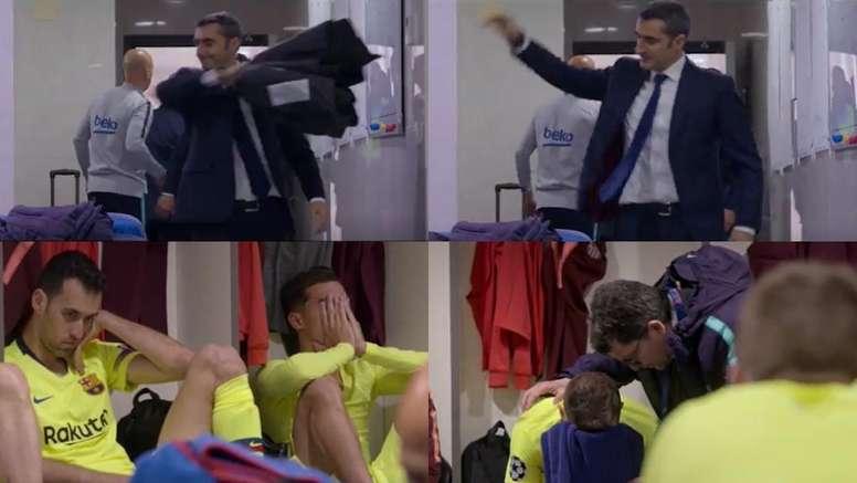 Valverde se enfadó tanto que terminó lanzando su chaqueta. Capturas/MATCHDAY