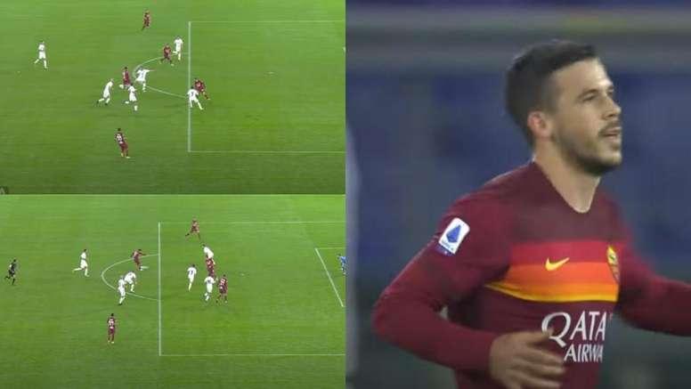 ¡Lo aprendió de Leo! El golazo 'a lo Messi' de Carles Pérez con la Roma. Capturas/Movistar+
