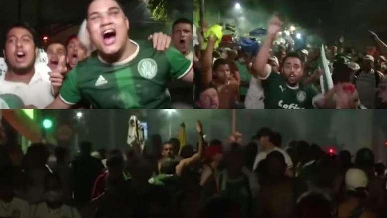 Los hinchas de Palmeiras celebraron el pase a la final de su equipo. Captura/ASTv