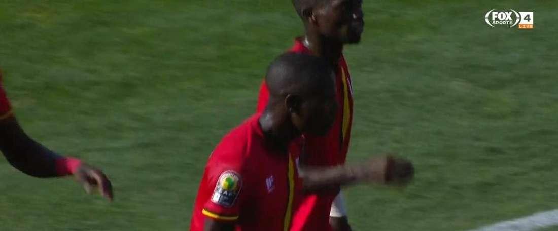 Le but du 1-0 de l'Ouganda contre la RDC. Capture/FoxSports