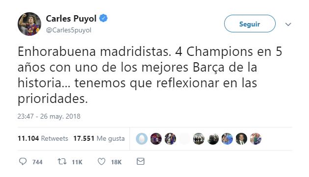 Puyol felicita al Real Madrid y critica a la directiva del Barcelona