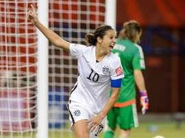 Carli Lloyd celebra un tanto durante el Mundial. EFE