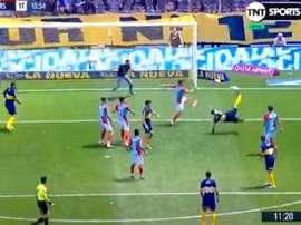Tévez adelantó a Boca Juniors. Captura/TyCSports