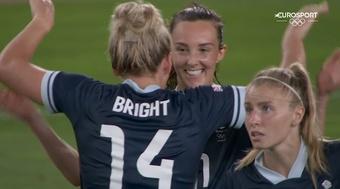 Caroline Weir got GB a 1-1 draw with Canada at the Olympics. Screenshot/Eurosport