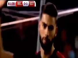 Carrasco se dirigió a su afición con este gesto tras el gol. Youtube/BeINSports