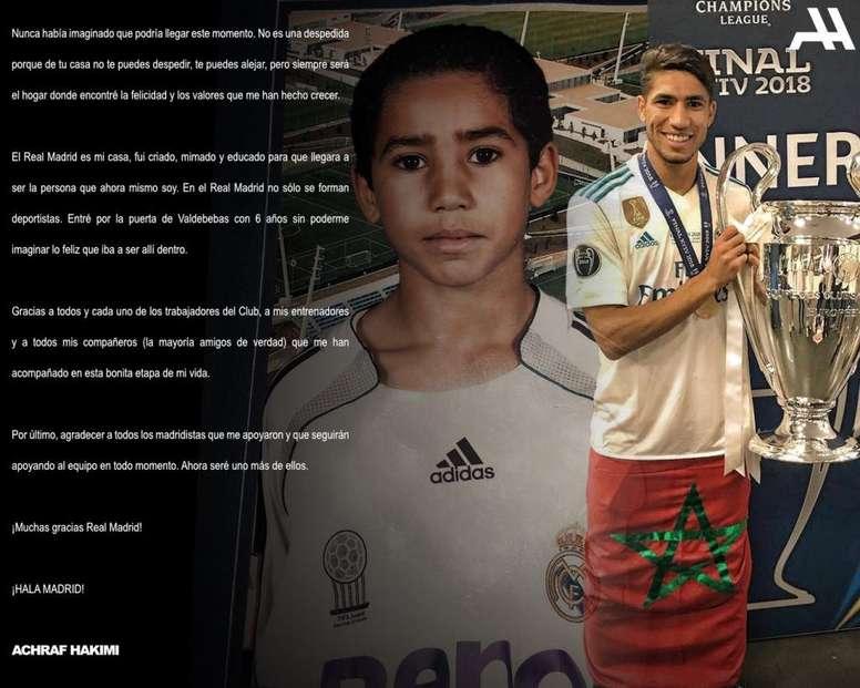 Achraf Hakimi fait ses adieux au Real Madrid. Twitter/AchrafHakimi