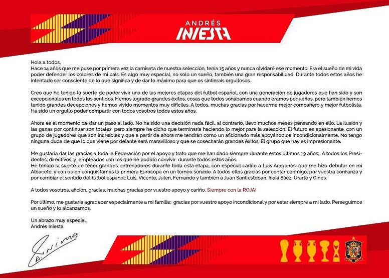 Iniesta\'s emotional open letter bidding farewell to the Spanish ...