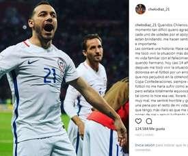 Lettre de Marcelo Díaz après la défaite en finale de Coupe des Conféderations. Instagram