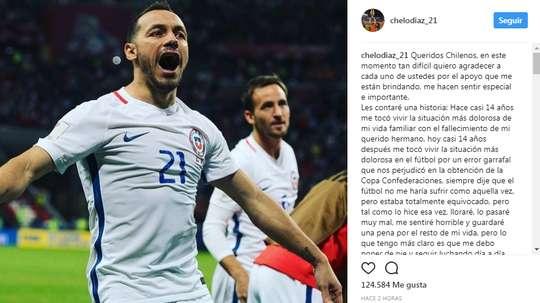 Publicação de Marcelo Díaz depois da derrota na final. Instagram
