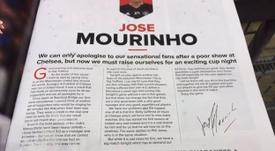Carta de Mourinho dirigida a los aficionados del United. Twitter