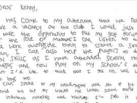 Esta es la carta del joven seguidor del equipo. Inverness