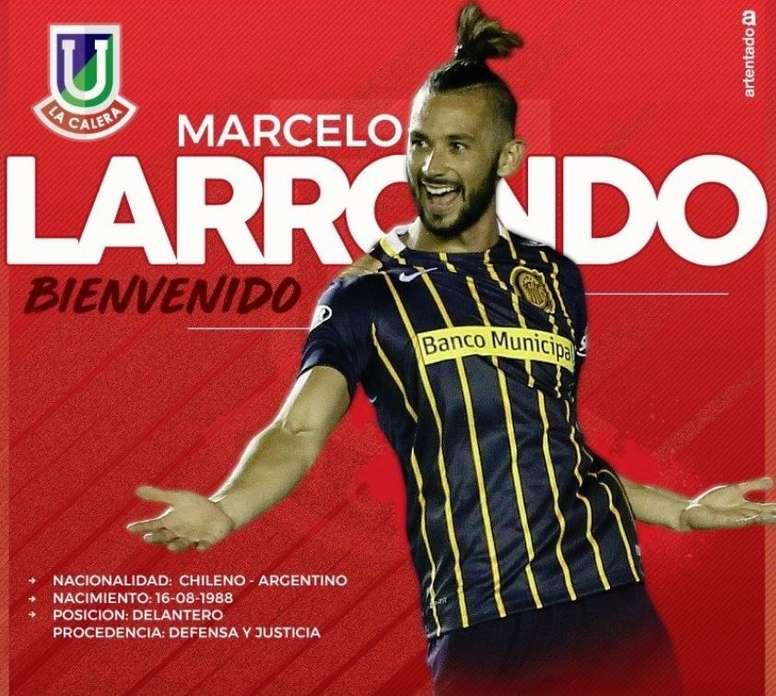 Larrondo jugará en Unión La Calera. Twitter/ulcsadpoficial