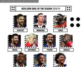 Les 10 nominés pour le meilleur but de 2018-19 de l'UEFA. UEFA