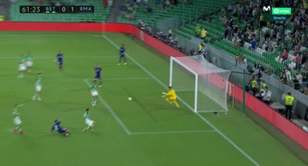 Carvajal puso el 0-1 para el Madrid. Captura/Captura/MovistarLaLiga