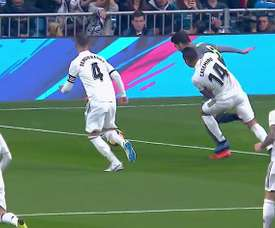 Casemiro upended Merino early on. Screenshot