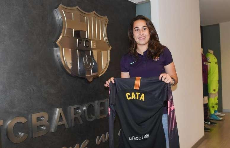 Cata Coll estuvo cedida en el Sevilla. Twitter/FCBfemeni