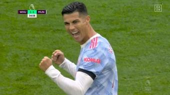 Cristiano igualó el choque entre West Ham y United. Captura/DAZN