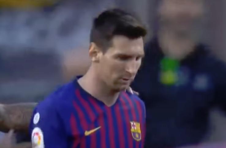 O olhar de Messi mostra a tristeza do jogador. Captura/Movistar+