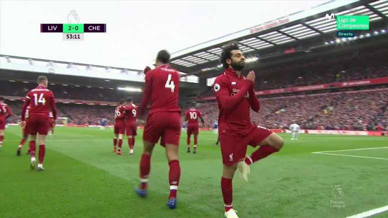 Salah firmó uno de los mejores goles del año en la Premier. Captura/Movistar