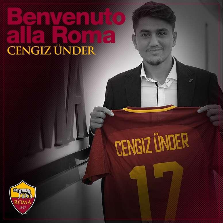 Ünder, o novo jogador da Roma. Twitter/ASRoma