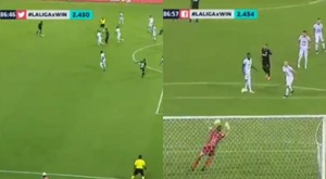 Ceppelini hizo el gol de la victoria con un 'trallazo' desde su casa. Captura/WinSports