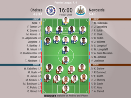 Chelsea v Newcastle. Premier League 2019/20. Matchday 9, 19/10/2019-official line.ups. BESOCCER