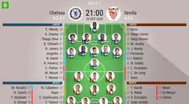 Chelsea v Sevilla, Champions League 2020/21, matchday 1, 20/10/2020 - Official line-ups. BESOCCER