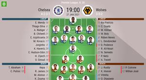 Chelsea vs Wolves, Premier League, 27/01/2021, official lineups. BeSoccer