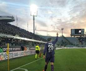 Federico Chiesa celebra o gol apontado ao Sassuolo. Twitter/Fiorentina