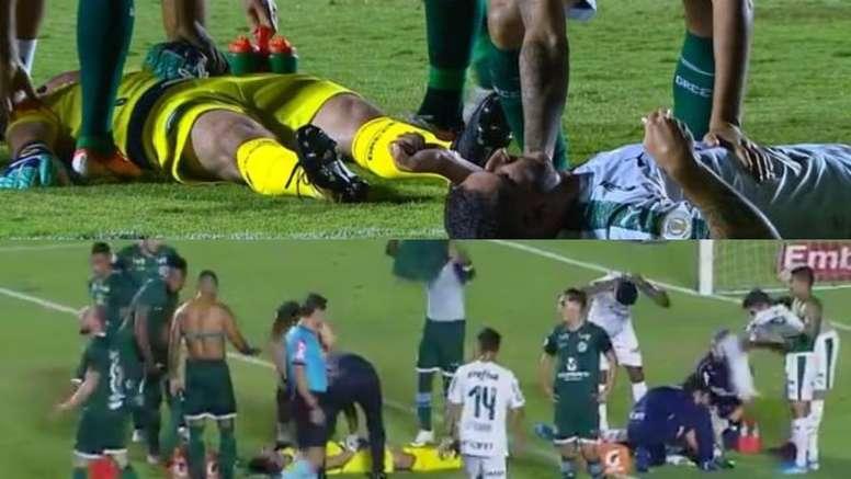 Tadeu y Zé Rafael, totalmente groguis tras un brutal choque. Captura/SporTV