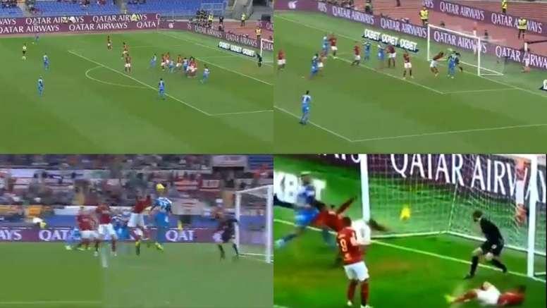 A goal line clearance. Screenshots/DAZN