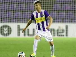 Chus Herrero, disputando un partido con el Valladolid. Twitter