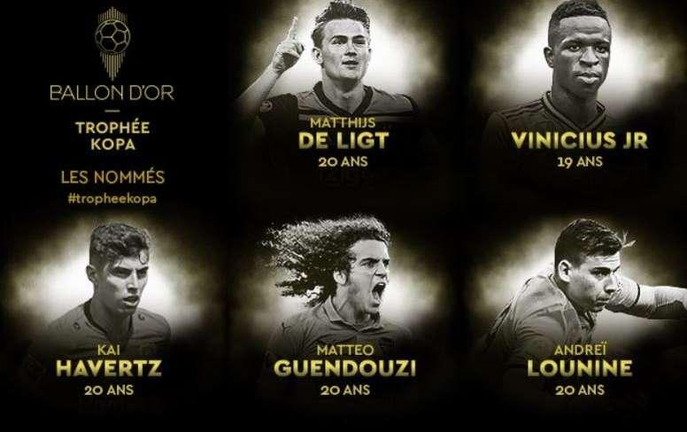 Estos son los nominados al Trofeo Kopa. FranceFootball