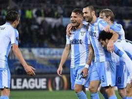 Ciro Immobile celebra uno de los goles anotados ante el FCSB. AFP