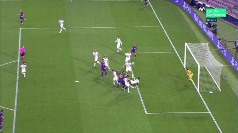 Lenglet put Barca in front. Screenshot/MovistarLigadeCampeones