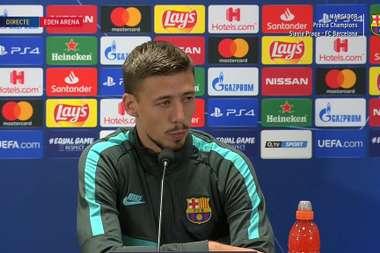 Lenglet habló sobre el Slavia de Praga. Captura/BarçaTV
