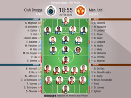 Club Brugge v ManUnited, Europa League last 32 1st leg, 20/02/20 - official-line-ups. BeSoccer