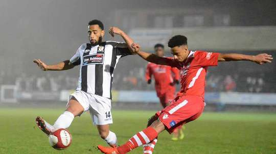 Cohen Bramall (right) in action for Hednesford Town. Hednesford Town