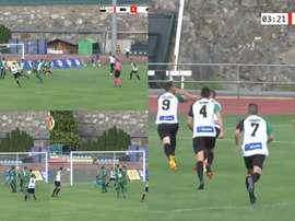 Adrián Gallardo anotó el primer gol de la Europa League de esta temporada. YouTube/FAFTVLive